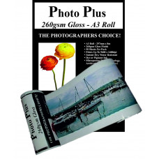PhotoPlus Photo Paper A3 Panoramic Premium High Gloss Rolls 260gsm, 297mm x 8m.